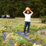 Jean Georges Perrin in a pumpkin field (NC, USA), in september 2013